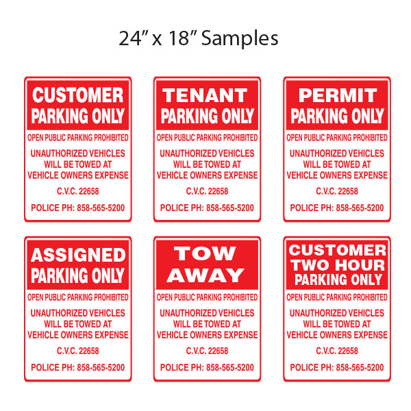 sample parking signs
